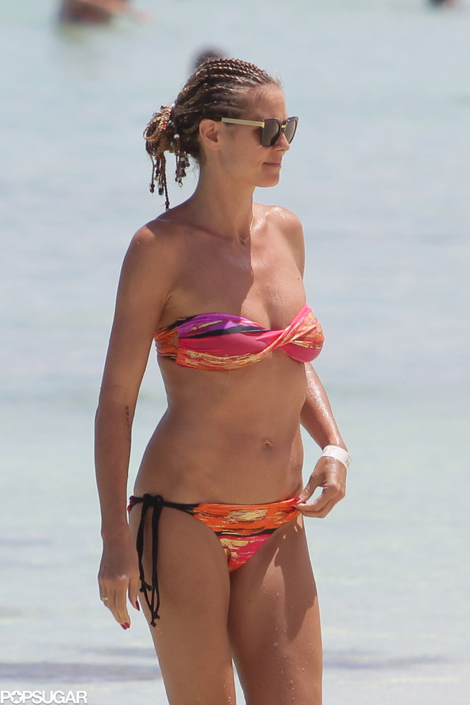 Heidi Klum wore a colorful bikini during a vacation in the Bahamas.