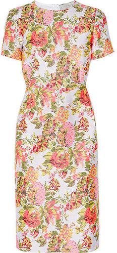 Stella McCartney Neon floral jacquard dress