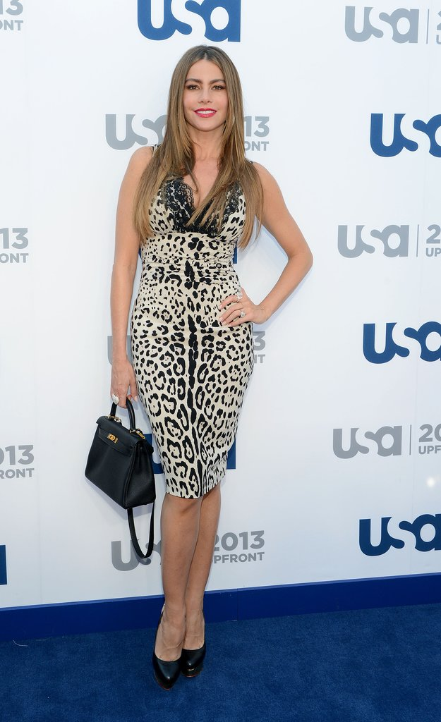 Ms. Vergara clearly has a soft spot for leopard, donning the trendy print once again, this time in contrasting white and black, for the USA Network upfronts in May.