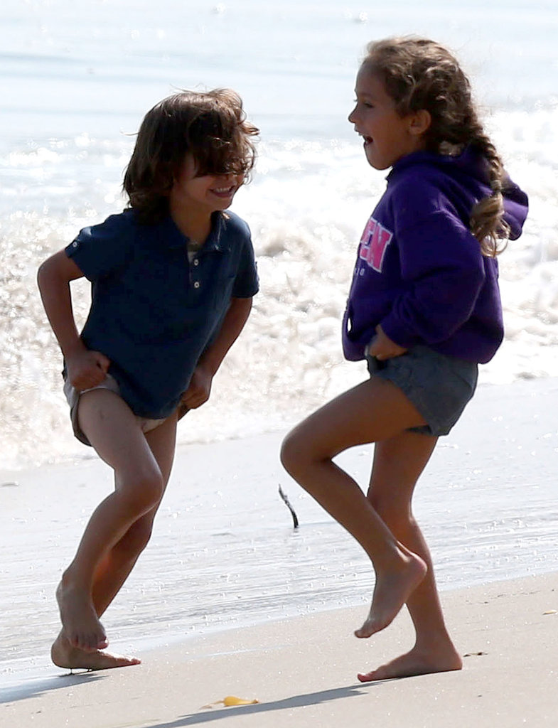Max Anthony played with his sister, Emme Anthony, in the water in Malibu, CA.