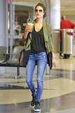 Dressed-down but still to impress, Alessanda Ambrosio hits the airport in style.