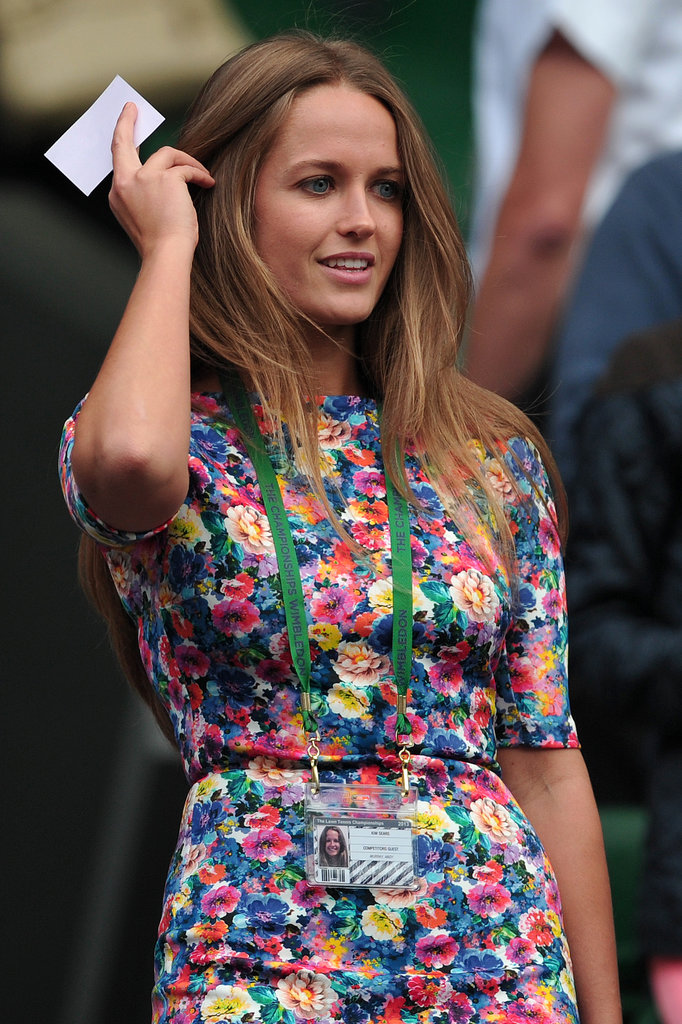 A lesson to learn from the tennis star's girlfriend? Wear a bright floral print to be easily spotted in the crowd.