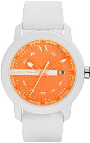 AX Armani Exchange Logo Bar Silicone Strap Watch, 44mm