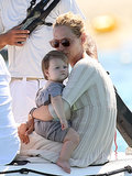 Uma Thurman kissed her daughter Luna while on vacation in St. Tropez on Saturday.