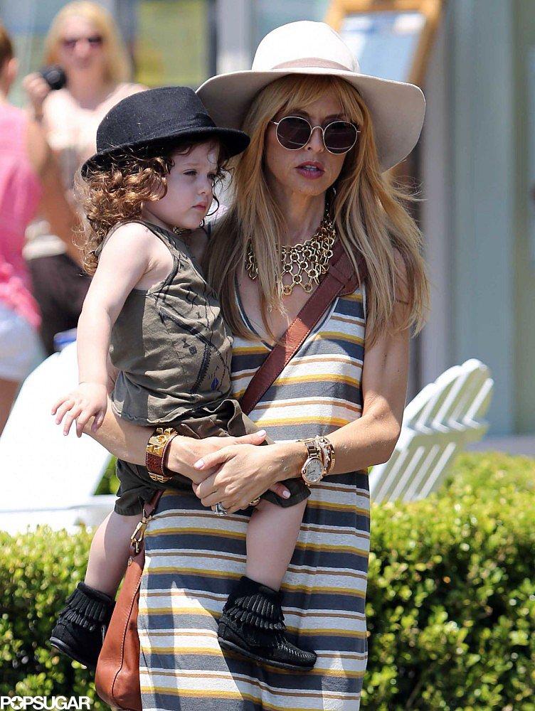 Rachel Zoe carried her son, Skyler, in Malibu on Friday.