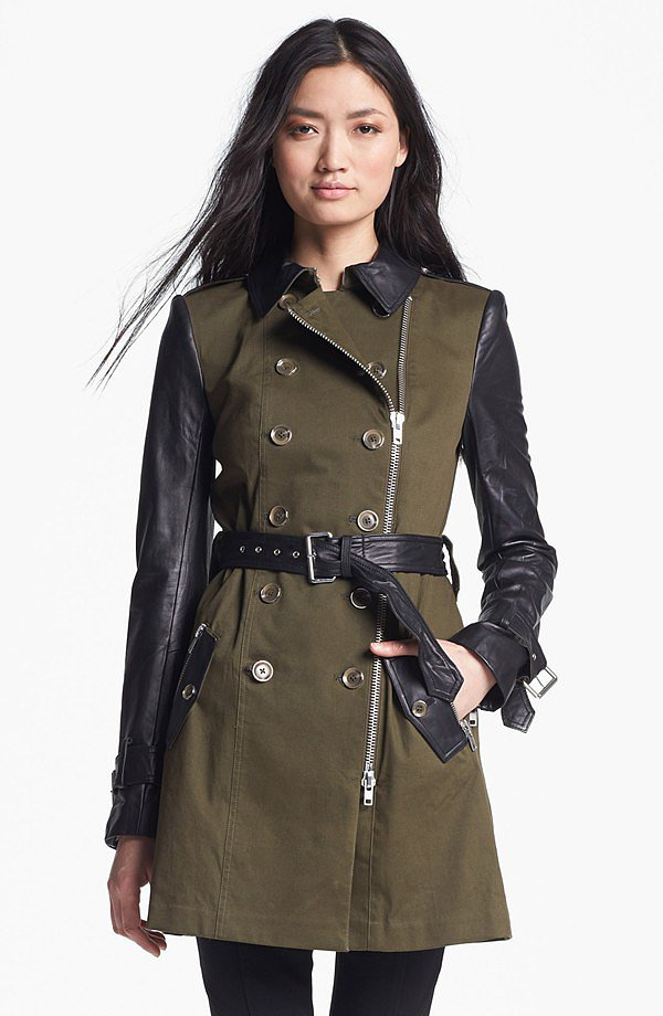The leather-sleeved look isn't going anywhere. Get in on the trend with this olive and black trench from Rachel Zoe ($695).