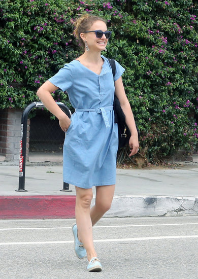 Natalie Portman completed her denim dress ensemble with these Soludos blue lace-up espadrilles ($55).