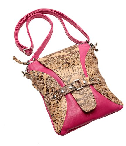 Ella / Crossbody Bag Beige Snakeskin with Accent of Pink Lambskin