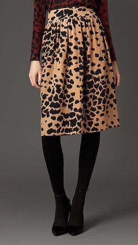 Animal Print Silk Skirt