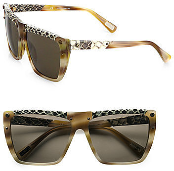 Lanvin Snake-Print Leather Accented Modified Square Sunglasses