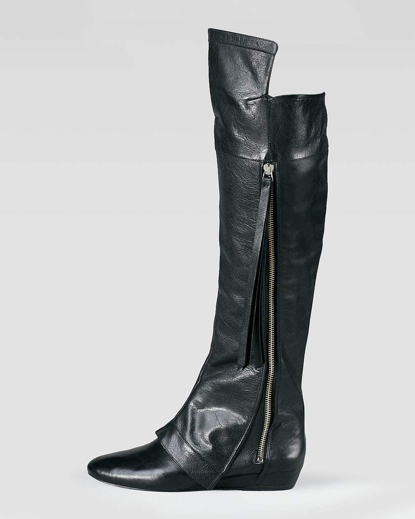 Done as a flat, an over-the-knee leather boot ($650) feels practical, not sexy.