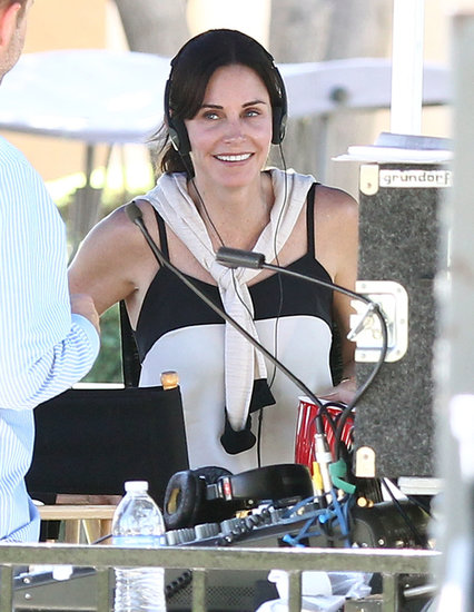 Courteney Cox sat in the director's chair for Hello I Must Be Going in LA on Monday.