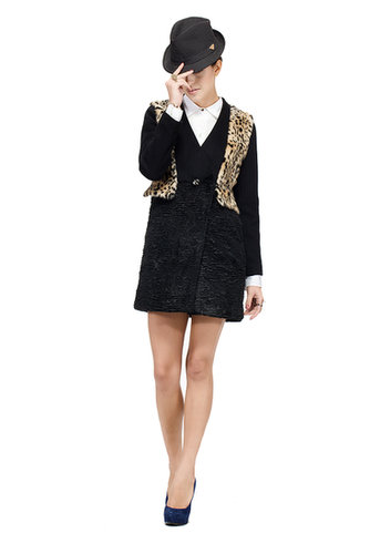buy quality gloria lady/black woolen and astrakhan with yellow Leopard fur/middle fur coat