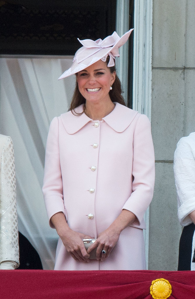 For her final pregnant public appearance on June 15, Kate Middleton was pretty in a pink coat and a matching hat at the Trooping the Colour parade in London.