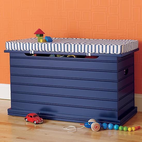 Oh boy! We're falling for The Land of Nod's blue beadboard chest ($249). It can even be topped with a cushion and used as comfy additional seating.