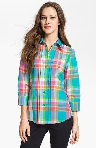 Foxcroft Three Quarter Sleeve Plaid Shirt