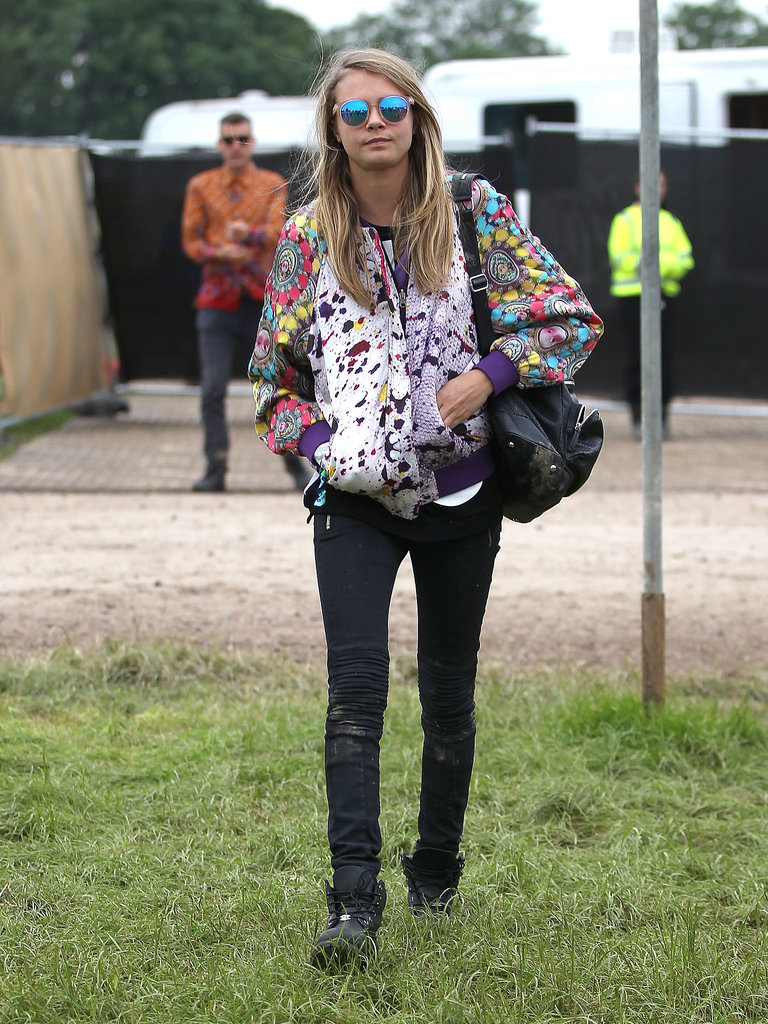 Cara's festival style didn't deviate too much from her usual look of a brightly colored top, denim, and sneakers.