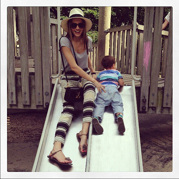 Miranda Kerr spent some time with her son, Flynn Bloom, and shared this adorable snap while playing on a slide. Source: Instagram user mirandakerr