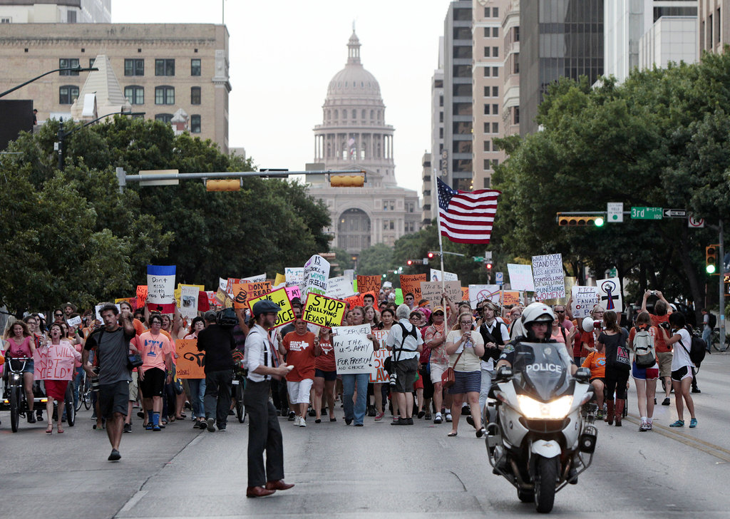 A group of pro-choice protesters marched down Congress Avenue.