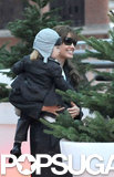 Knox Jolie-Pitt and Angelina Jolie checked out the Christmas trees in Paris in December 2010.
