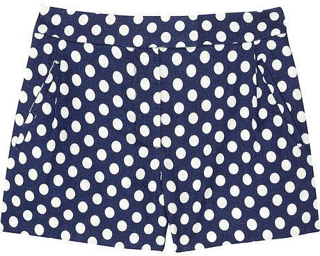 J.Crew Indigo polka-dot linen and cotton-blend shorts