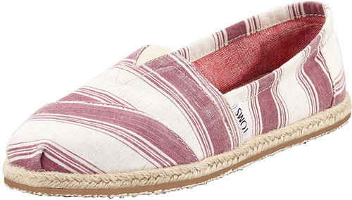 TOMS Umbrella-Stripe Espadrille Slip-On, Shiraz Red