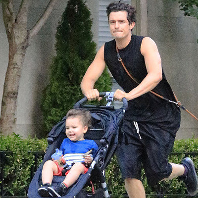 Orlando Bloom Runs With Flynn in NYC | Photos
