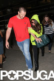 Selena Gomez wore a neon hoodie and sunglasses.