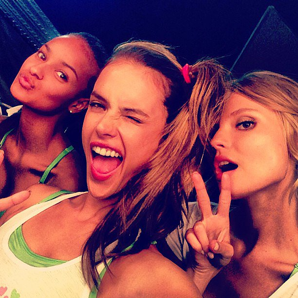 Alessandra Ambrosio, Magdalena Frackowiak, and Gracie Carvalho partied '80s style at a SoulCycle event. Source: Instagram user alessandraambrosio