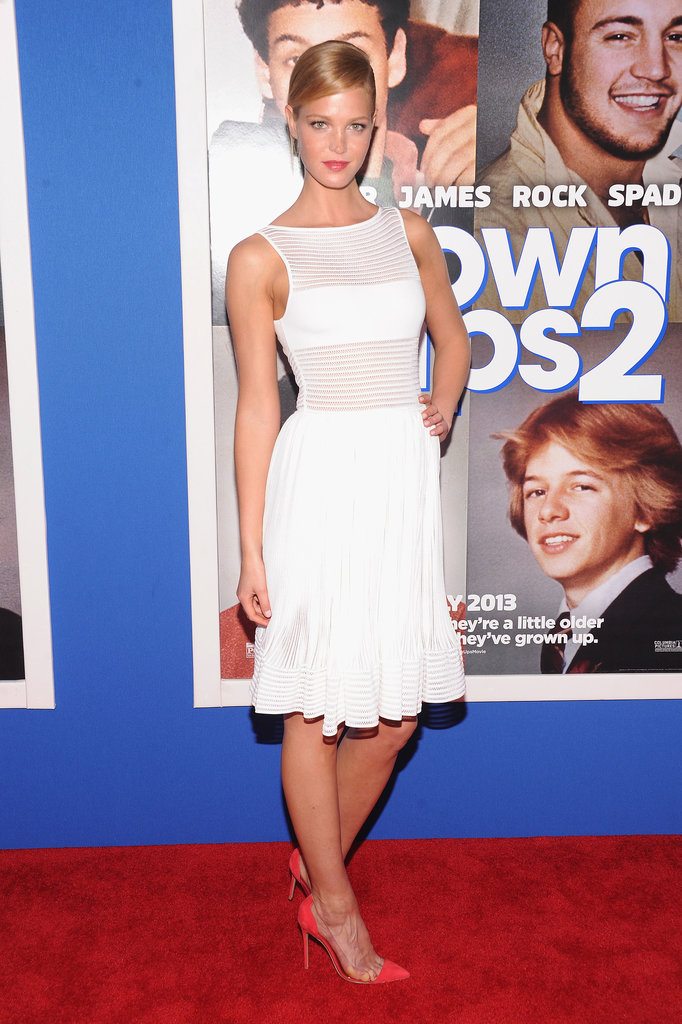 Erin Heatherton attended the Grown Ups 2 NYC premiere looking part angelic, part sassy in a sheer white dress and red cap-toe pumps.