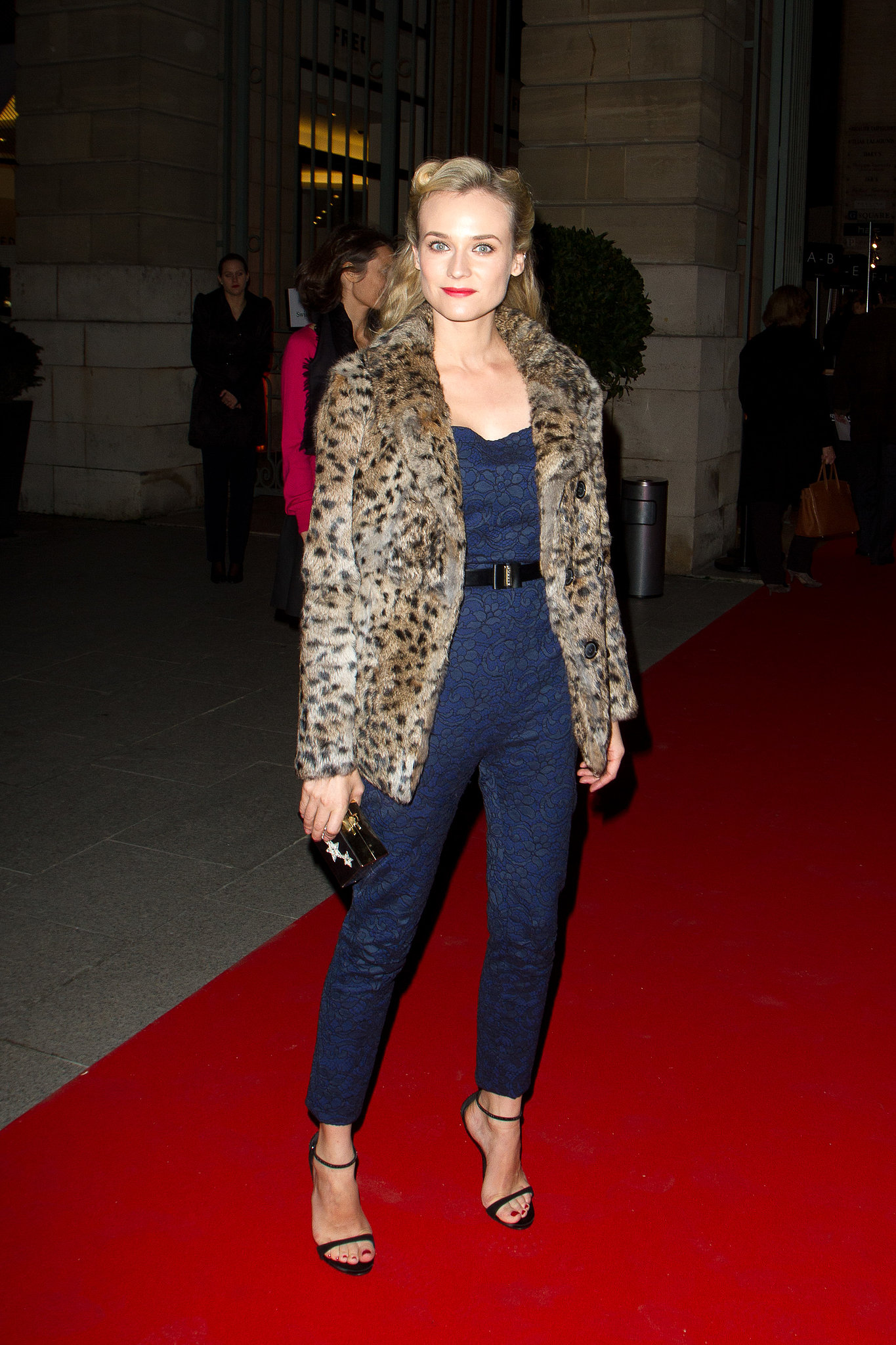 When visiting the City of Light you better bring your fashion A-game, and in 2012 Diane most definitely did. The star took us back to a much simpler and stylish time donning a formfitting Jason Wu jumpsuit, plush leopard coat, and retro-chic curls.