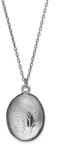 Giani Bernini Sterling Silver Necklace, Etched Oval Locket Pendant