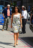 Outside David Letterman's studios in NYC, Salma Hayek was flirty, feminine, and totally Summer ready in a Gucci floral minidress and wedge platform sandals, also by the designer.