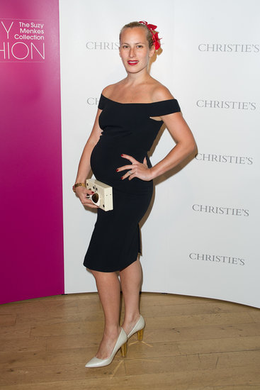 Charlotte Dellal flaunted her bump in an LBD at the opening party for the Christie's exhibit In My Fashion: The Suzy Menkes Collection.