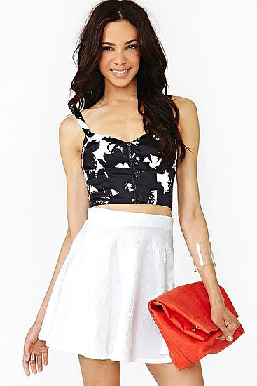 This Nasty Gal printed bustier ($48) could be just the piece you need to transform you going-out look.