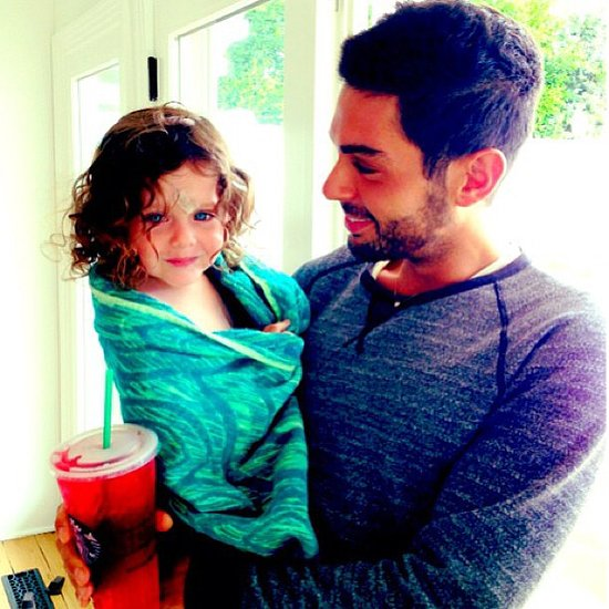 Skyler Berman had a postbath snuggle with his mom's colleague Joey Maalouf. Source: Instagram user rachelzoe