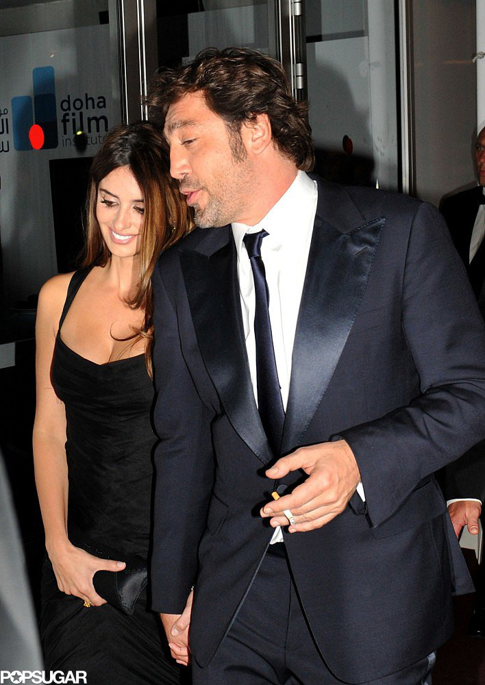 Penélope Cruz held onto Javier Bardem's hand while leaving a party in Cannes in May 2010.