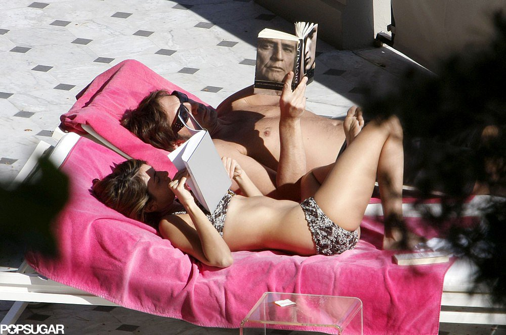 Penélope Cruz and Javier Bardem got a bit of sun while reading together during a vacation in Nice in March 2008.