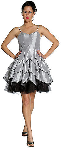 LM-a9503, Party Dress with Ruffled Skirt with Spaghetti Straps-Satin-Boutique.Com