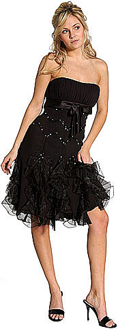 LM-c27778, Ruffled Strapless Short Party Dress is Sequined and Beaded-Satin-Boutique.Com