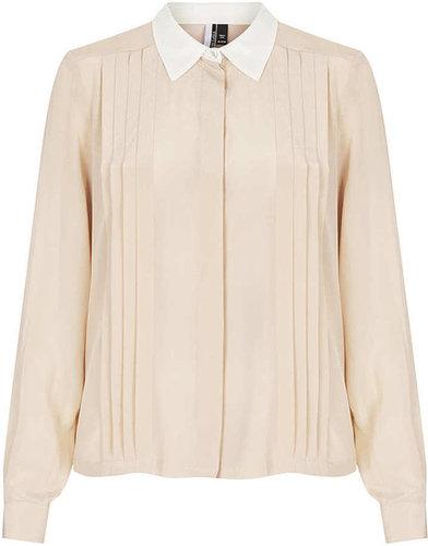 Long Sleeve Silk Pleat Shirt