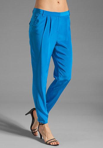 Tibi Solid Silk Pleated Pant