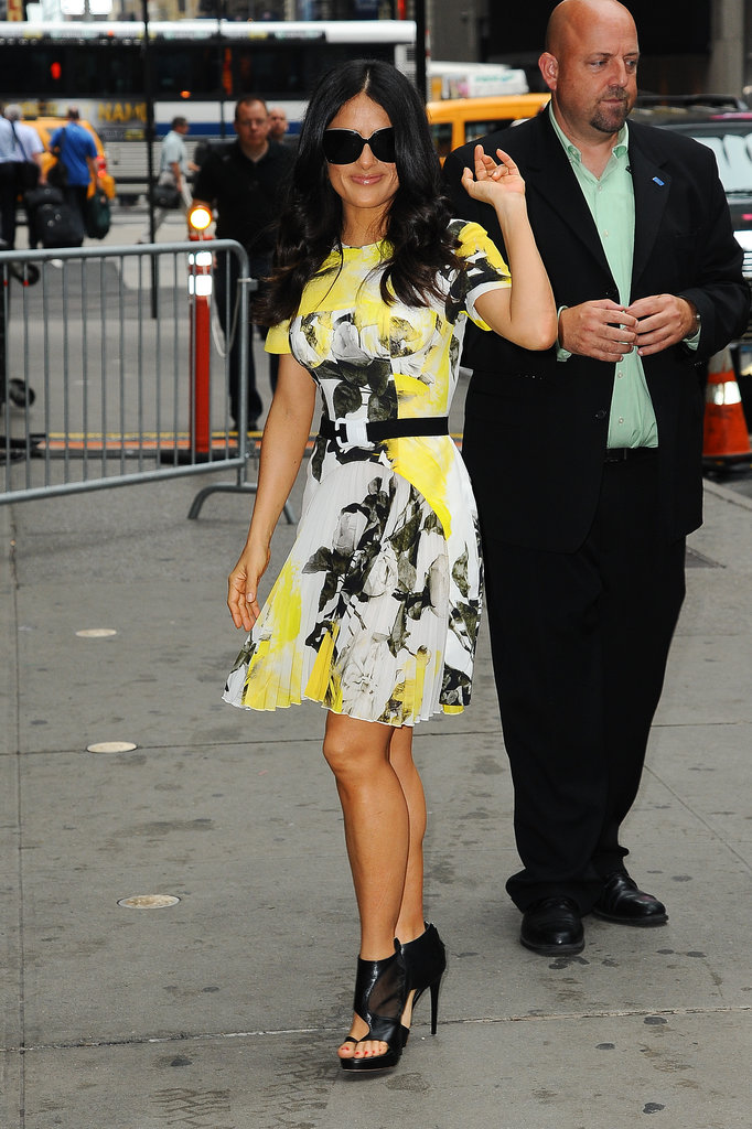 It was hard to choose a winner in Salma Hayek's nonstop week of style, but this bright Christopher Kane dress gets our vote.