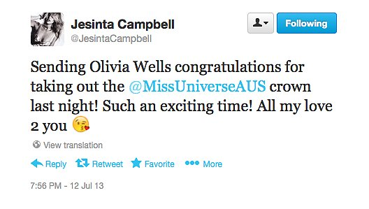 2010 Miss Universe Australia winner Jesinta Campbell congratulated 2013's winner, Olivia Wells, after last night's announcement.