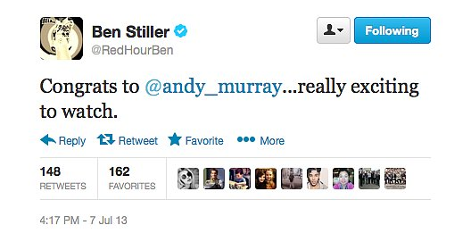 Sports-nut Ben Stiller sent out congratulations to new Wimbledon champ, Andy Murray.