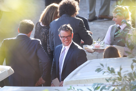 Matt Damon smiled at guests.