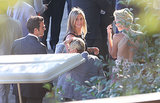 Jennifer Aniston flashed a smile at Jimmy Kimmel's wedding in Ojai, CA.