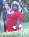 Gabourey Sidibe wore a red dress to the wedding.