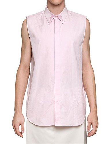Satin Insert And Poplin Sleeveless Shirt