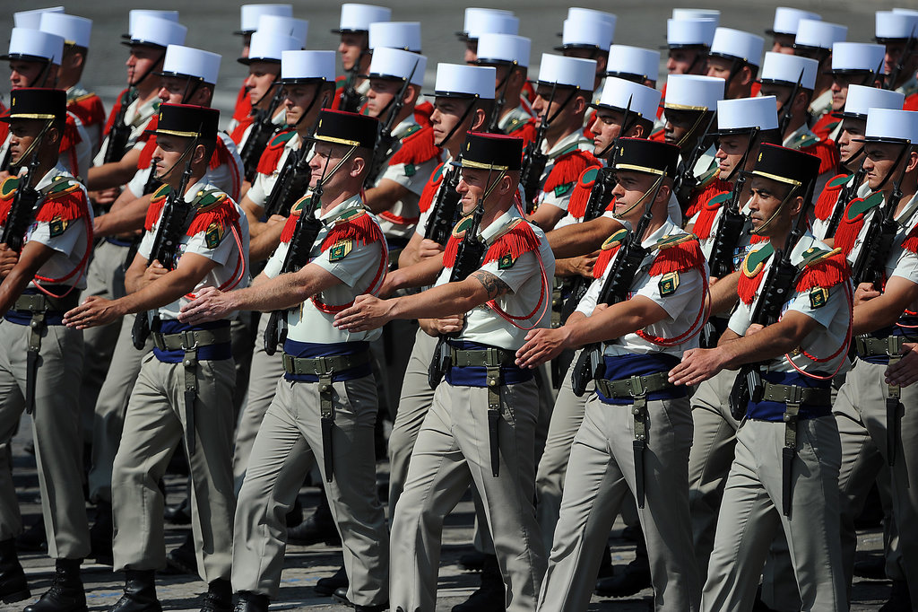 Soldiers marched in the Bastille Day parade.